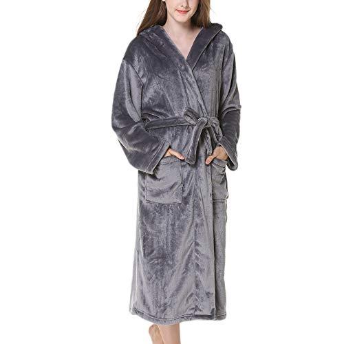 City Comfort SeñOras Robe Luxury Terry Toweling AlgodóN Bata Albornoz Mujeres Altamente Absorbente Mujeres con Capucha Y Shawl Towel BañO Abrigo,Grey-M