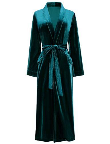 PRODESIGN Albornoz de terciopelo para mujer con cinturón, tallas S-XL, ropa de dormir para mujer verde oscuro M