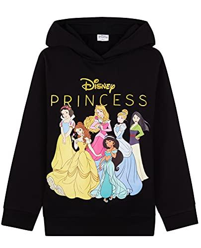 Disney Sudadera Niña De Princesas Capucha, Ropa Niña De 2-12 Años, Tops para Niñas De Algodón (11-12 años, Negro, 11_Years)
