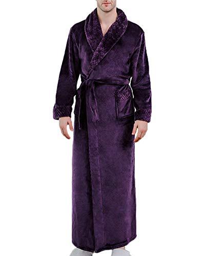Shaoyao Bata de Baño Franela para Unisex Hombre Mujer Albornoz Hombre Púrpura XL