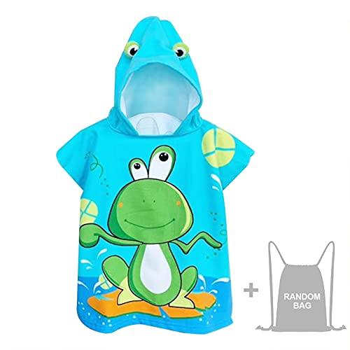 Toalla con capucha para niños, toalla de playa, piscina, surf, toalla de microfibra, ultra suave y absorbente, albornoz para niños, niñas, niños pequeños, 2-8 años de edad