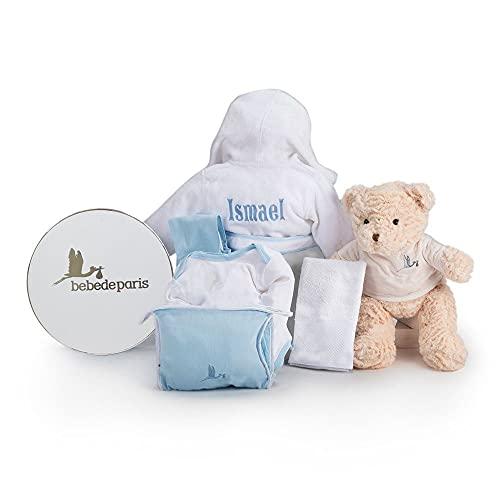 Canastilla regalo bebé Mi Albornoz Bordado- BebeDeParis- Azul- Cesta para bebés con Albornoz personalizado con el nombre del bebé- regalo de nacimiento ideal