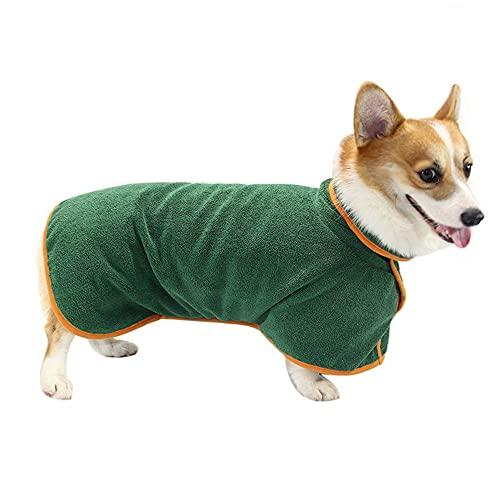 Toalla Albornoz para Perro,Albornoz de Microfibra para Perros,Albornoz Ajustable para Perros,Albornoz Absorbente para Perros,Albornoz para Mascotas,para Perro Mascota Gato Albornoz Toalla(M,Verde)