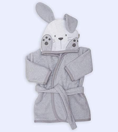 Ti Tin Albornoz Infantil con Capucha 100% Algodón Suave y Absorbente con un Diseño de Orejas de Conejito Color Gris, Talla Bebés de 6 meses a 1 año.