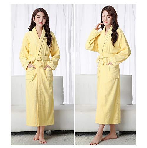 XUMING para Hombre de Las señoras de Albornoz Bata Bata de baño de Rizo 100% de los Vestidos Batas de algodón de Cuerpo Entero de la Toalla Mujer de los Hombres,Amarillo,XL