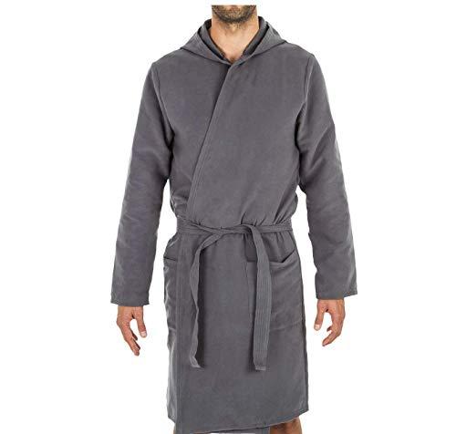 Intimitaly® Albornoz de microfibra unisex con capucha, práctico, ligero y cómodo gris XXL