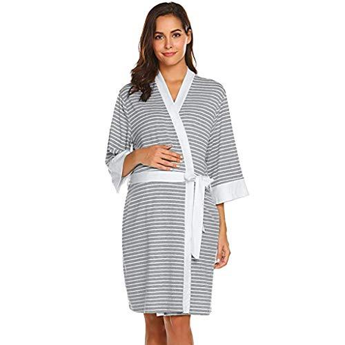 Maternity Albornoz Bata Pijama Vestido con Maternidad De Clásico Cordones Pijamas De Cintura Vestido De Maternidad Camisón De Maternidad Mini Vestido (Color : Grau(#2), One Size : L)