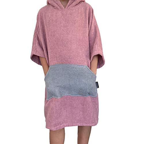 Homelevel Poncho de surf para hombre y mujer, 100% algodón, de playa, de baño, toalla de mano, capa, toalla de baño con capucha, color Altrose/gris claro., tamaño small/medium