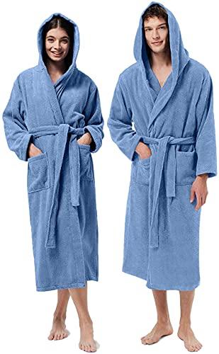 Jenny Sesal Albornoz de rizo 100 % algodón con capucha, unisex, suave al tacto con excelente absorción, muy cómodo., azul celeste, L