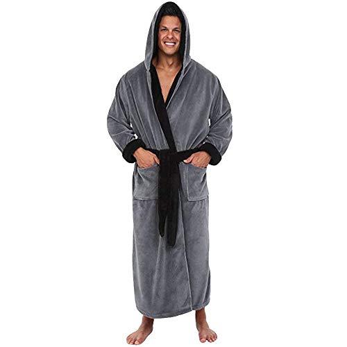 Albornoz de mantón de Felpa de Invierno para Hombres Ropa de casa Abrigo de túnica de Manga Larga Bata con Capucha Tallas Grandes Albornoz de Color sólido para Hombre (5XL, Gris)