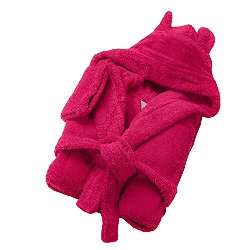 SOHYGGE - Albornoz infantil de 450 gr/m2, para niño y niña, 100% algodón esponja, ecológico OEKO-TEX – Albornoz infantil con capucha – salida de baño infantil, rosa fucsia, 9-10 años