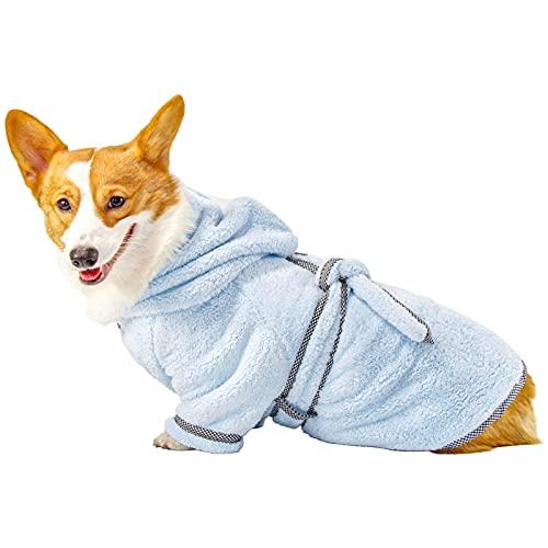 PETTOM Albornoz para Perro, Secado Rápido de Microfibra Secador Perro Toalla, con Cinturón de Cintura Ajustable, Baño Gatos Lavable Pijamas para Mascotas (M, Azul Claro)