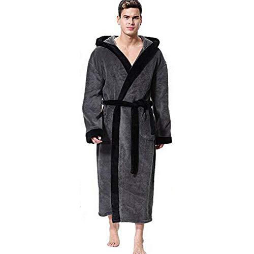 Bathrobe Albornoz con Capucha de Hombre - Invierno Cómodo y Cálido Pijama de Talla Grande de Casa, S-5XL (Color : Gray, Size : 5X-Large)