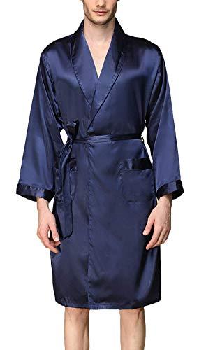INSTO Hombre Pijamas Primavera Verano Suave Seda Vestido Vestido de Manga Larga con Cuello en V Albornoz Hogar Ropa de Baño Kimono Bata con Cinturón,Azul,4Xl
