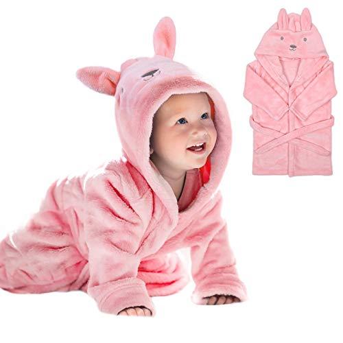 URAQT Toallas de Baño para Bebe, Albornoz Capucha para Bebe, Toalla de Bebé con Capucha y Lindas Orejas, Suave Toalla Bebe Recién Nacido para Niño y Niña, Extra Absorbente (Conejito Rosa)
