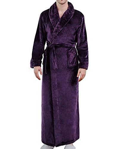 INSTO Mujeres Hombres Que Empiezan Al Chal Cuello Del Chal Vestido Vestido de Vestir de la Habitación Albornoz Albornoz Encuadre de Cuerpo Entero Pijamas Sleepwear Nightwear,Hombres Púrpuras,L