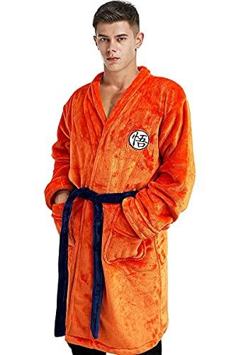 Goku Bata de Baño para Hombres Pijamas Ropa de Dormir Super Suave Albornoz Drangballs Chal Collar Ropa de Dormir Naranja (L-XL)