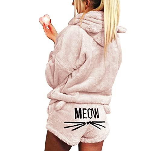 RITOSTA Gato Pijamas Mujer Suave Albornoz Shorts Lindos Las de Gato Bordada Ropa de Dormir Shorts y Pijamas de Dos Piezas Conjunto Espesar Cálida Pijama de Otoño Invierno (Beige, S)
