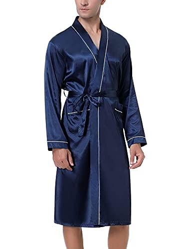 NC Bata de Casa Hombre Verano Batas de Seda con Mangas Largas Suave Cómodo Albornoz de Satén Sedosa Kimono Largo Ropa de Dormir