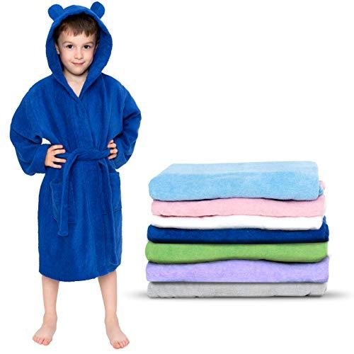 Twinzen - Albornoz Niños Algodón - Niño y Niña - 100% Algodón OEKO-TEX® - Bata de Baño 2 Bolsillos, Cinturón y Capucha, Azul Marino, 7-8 años, (size4)