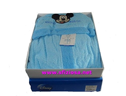 PLANETEX Mickey Disney - Albornoz infantil azul celeste, talla 8/9 años