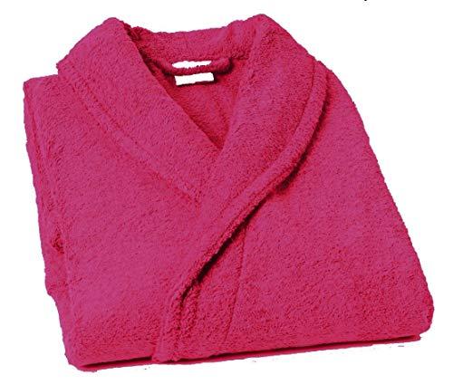 Lasa Pure Albornoz con Cuello Tipo Smoking, algodón 100%, Fucsia, XL