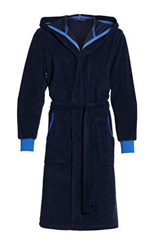 Revise Albornoz para hombre con capucha RE-109 en 80% algodón. Azul oscuro con azul. XXXL