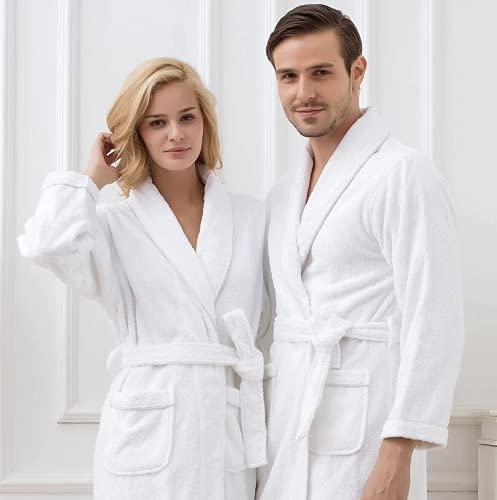 ROYAL EUROPE TEXTILE SL Bata de baño Unisex, Talla M, Albornoz Rizo Americano de 400gr/M2 100% algodón, Color Blanco, Suave al Tacto