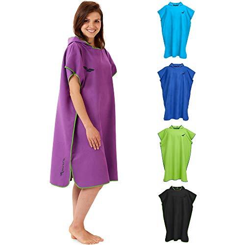 Fit-Flip Poncho de Surf – Ligero y Compacto – Toalla de Poncho para Adultos – Poncho Playa, Poncho de Microfibra para Hombres y Mujeres – Albornoz Natacion – Color: púrpura-Verde | Tamaño: M