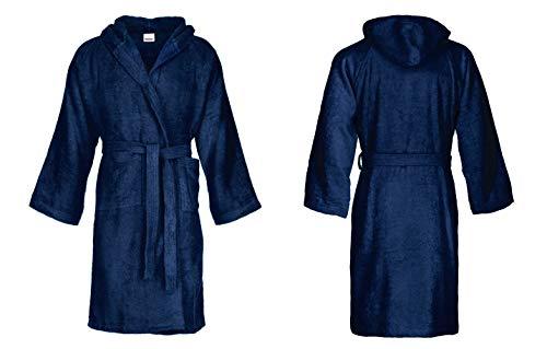 Bassetti - Albornoz con capucha para hombre/mujer, disponible en varias tallas y colores, 100% algodón azul navy XL