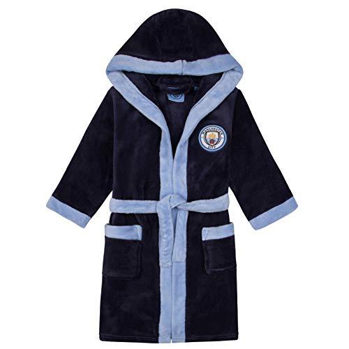 Manchester City FC - Batín Oficial con Capucha - para niño - Forro Polar - Azul Marino - 11-12 años