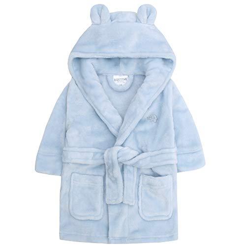 Baby Town Albornoz de Felpa Suave de Franela con Capucha y Forro Polar para Unisex bebés Azul 6-24 Meses