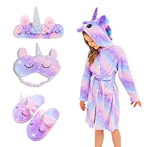 FZOSM Albornoz Suave Con Capucha de Unicornio para Niñas, Con Pantuflas de Unicornio, Venda para Los Ojos y Diadema (Púrpura Brillante, 10-11 años)