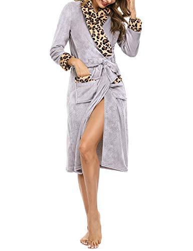 Irevial Bata para Mujer Invierno algodón Leopardo Albornoz Ducha Mujer Largo de Franela con Cinturón Cálido Talla Grande Bata de Baño en Casa Cómodo Pijama Vestidos con Bolsillos,Gris,XXL