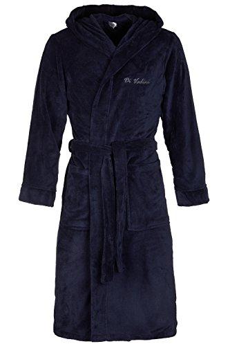 Di Vadini Albornoz unisex Florenz con capucha I Bata mullido I Ropa de dormir de elegante microfibra Öko-Tex Standard 100 I Kimono con selección de colores y tamaños XXS - 5XL, azul claro, XL