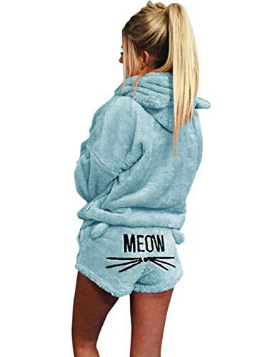 HONGEYO Pijama para mujer, diseño de gato, bordado, 2 piezas, pijamas para mujer, pijamas simples, albornoz, pantalones cortos de invierno, azul celeste, XL