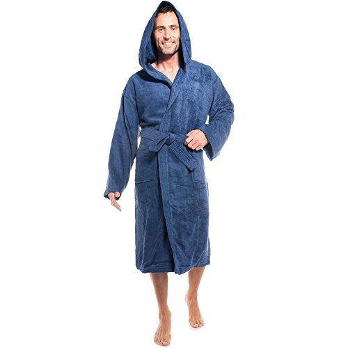 aqua-textil Föhr Albornoz Capucha Uni Largo Bolsillos de Parche Costuras Decorativas Señoras Caballeros Unisex 100% Algodón M Azul