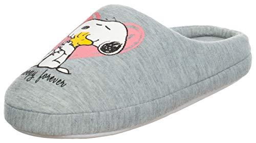 Brandsseller Zapatillas de estar por casa para mujer, diseño con motivos de Snoopy, color Gris, talla 36/37 EU