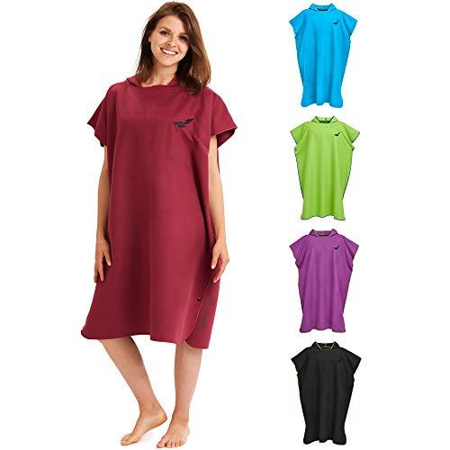 Fit-Flip Toalla con Capucha de Microfibra, Poncho Surf Microfibra – Poncho Toalla Hombre, Poncho Toalla Mujer – Vestido de Verano para Hombres y Mujeres – Color: Vino Rojo | Tamaño: M