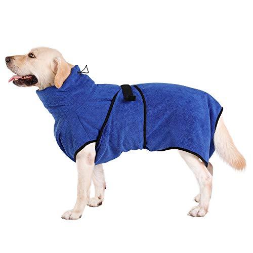 Toallas para Perros Gatos Ajustable Microfibras Albornoz Súper Absorbente Pequeños Grandes Suave y Cómodo con Patas (Azul XL)