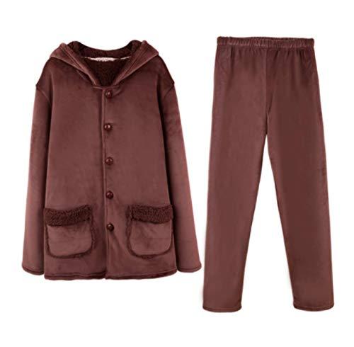LEYUANA Pijama de Franela cálido de Invierno con Cuello de Gorra para Hombre L marrón