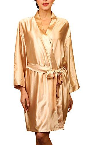 Dolamen Unisex Mujer Hombre Vestido Kimono Satén, Camisón para Mujer, Lujoso Robe Albornoz Dama de Honor Ropa de Dormir Pijama, Busto 132 cm, 51,97inch, de Gran tamaño para Todos (Oro)