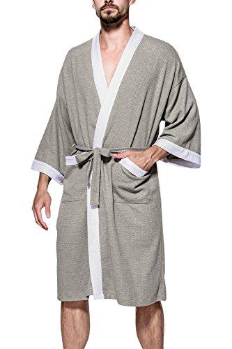 Dolamen Albornoz para Hombre y Mujer, Suave y Ligero Algodón Camisón, Robe Albornoz Dama de Honor Ropa de Dormir Pijama, para SPA Hotel Sauna (X-Large/EU L, Gris II)