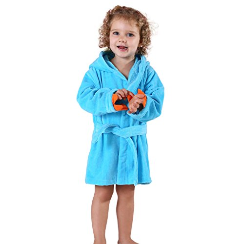MICHLEY Bebé Ropa Niños Niñas Albornoz Capucha manta Toalla Pijamas Baño Algodón Animale para (Azul 3-5T)