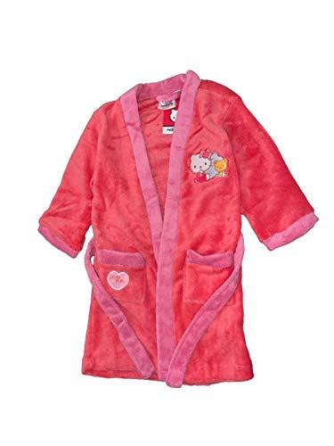 Albornoz con vestido de habitación de Hello Kitty bordado en el pecho, para 2 a 8 años, color rosa fucsia y rosa, 4 años