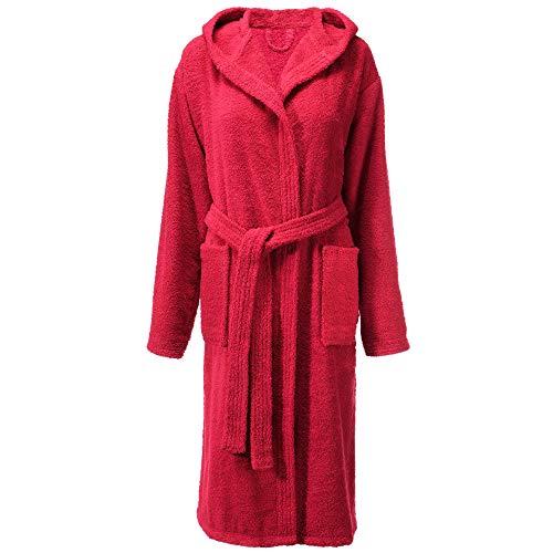 CelinaTex Fehmarn Albornoz Capucha Larga Bolsillos Mujer algodón XS Rojo Burdeos