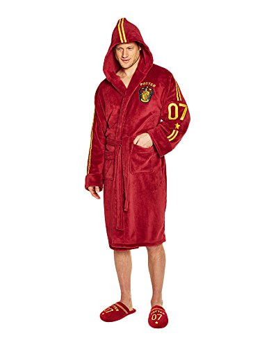 Groovy Harry Potter Quidditch Albornoz de forro polar para hombre, bata de baño, Burgandy