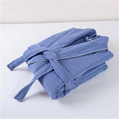 Toalla de algodón, Bata de Felpa, Amantes Unisex, Bata de baño Suave para Hombres y Mujeres, Ropa de Dormir para Hombre, Albornoz Informal para el hogar-Deep blue-1-L