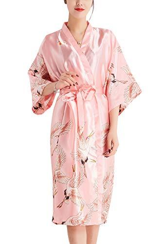 YAOMEI Kimono Albornoz para Mujer, Satín Grua Camisón Robe Albornoz Novia Dama de Honor Ropa de Dormir Pijama, para SPA Hotel Sauna con Bolsillo (X-Large, Rosado)