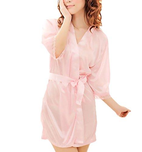 Pijama Mujer Elegante Clásico Especial Batas Corto Bata Lencería Color Sólido Media Manga Albornoz Camisón (Color : Pink, Size : One Size)
